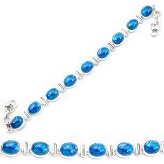 Natural blue apatite (madagascar) 925 sterling silver tennis bracelet m61732