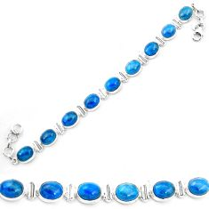 Natural blue apatite (madagascar) 925 sterling silver tennis bracelet m61733