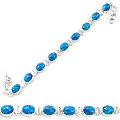 925 sterling silver natural blue apatite (madagascar) tennis bracelet m61734
