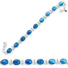 Natural blue apatite (madagascar) 925 sterling silver tennis bracelet m61735