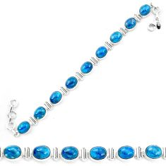 Natural blue apatite (madagascar) 925 sterling silver tennis bracelet m61736