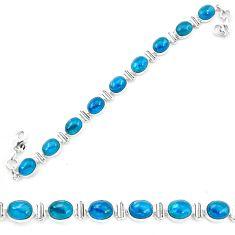 Natural blue apatite (madagascar) 925 sterling silver tennis bracelet m61737
