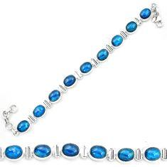 Natural blue apatite (madagascar) 925 sterling silver tennis bracelet m61738