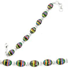 Natural multi color rainbow calsilica 925 silver tennis bracelet m62172