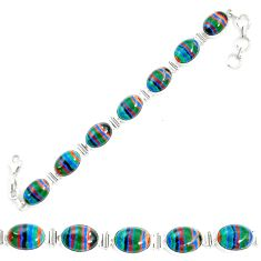 Natural multi color rainbow calsilica 925 silver tennis bracelet m62174