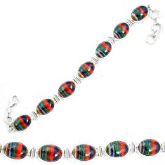 Natural multi color rainbow calsilica 925 silver tennis bracelet m62175