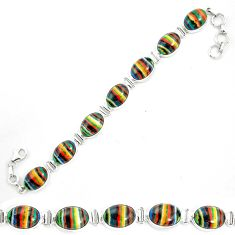 Natural multi color rainbow calsilica 925 silver tennis bracelet m62177