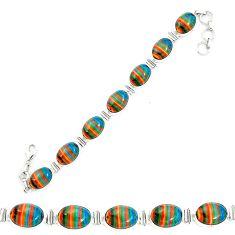 Natural multi color rainbow calsilica 925 silver tennis bracelet m62178