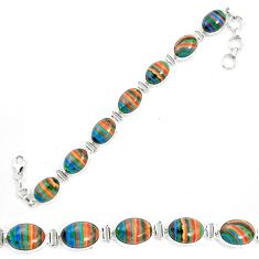 925 silver natural multi color rainbow calsilica oval tennis bracelet m62179