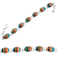 Natural multi color rainbow calsilica 925 silver tennis bracelet m82066