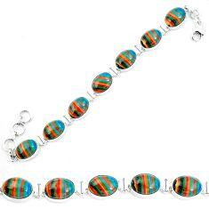 925 silver natural multi color rainbow calsilica tennis bracelet m82067