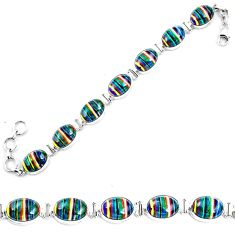 Natural multi color rainbow calsilica 925 silver tennis bracelet m82068