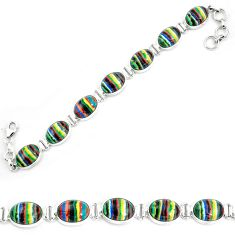 Natural multi color rainbow calsilica 925 silver tennis bracelet m82069