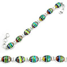 925 silver natural multi color rainbow calsilica tennis bracelet m82070