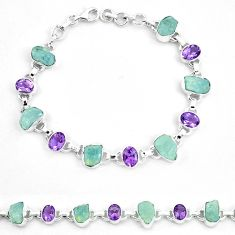 Natural aqua aquamarine rough amethyst 925 silver bracelet m82163
