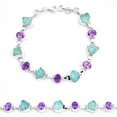 Natural aqua aquamarine rough amethyst 925 sterling silver bracelet m82169