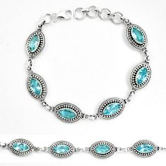 Natural blue topaz 925 sterling silver tennis bracelet jewelry m82410