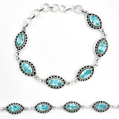 Natural blue topaz 925 sterling silver tennis bracelet jewelry m82413