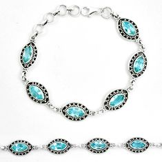 Natural blue topaz 925 sterling silver tennis bracelet jewelry m82414