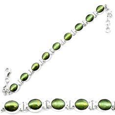 Green cats eye 925 sterling silver tennis bracelet jewelry m8562