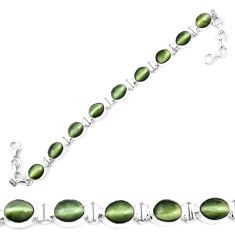 Green cats eye 925 sterling silver tennis bracelet jewelry m8563