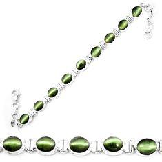 925 sterling silver green cats eye oval tennis bracelet jewelry m8564