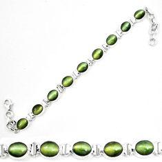 Green cats eye 925 sterling silver tennis bracelet jewelry m8566