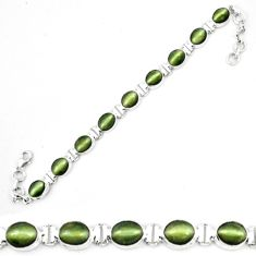 Green cats eye oval 925 sterling silver tennis bracelet jewelry m8568