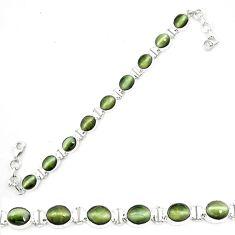 925 sterling silver green cats eye oval shape tennis bracelet jewelry m8570