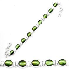 Green cats eye 925 sterling silver tennis bracelet jewelry m8572