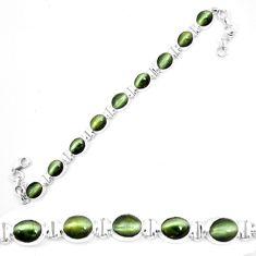 Green cats eye 925 sterling silver tennis bracelet jewelry m8573