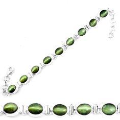 Green cats eye 925 sterling silver tennis bracelet jewelry m8574