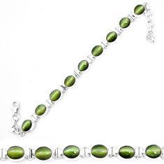 Green cats eye oval 925 sterling silver tennis bracelet jewelry m8575