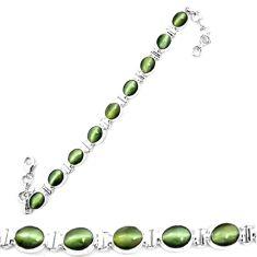 925 sterling silver green cats eye oval tennis bracelet jewelry m8576