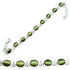 Green cats eye 925 sterling silver tennis bracelet jewelry m8577