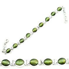 Green cats eye 925 sterling silver tennis bracelet jewelry m8579