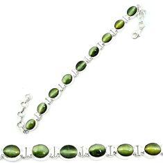 925 sterling silver green cats eye oval tennis bracelet jewelry m8580
