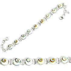 Natural white shiva eye 925 sterling silver tennis bracelet jewelry m86151