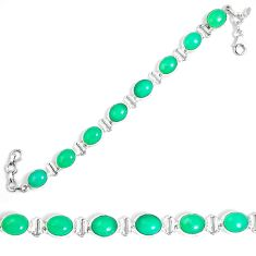 Natural green chrysoprase 925 sterling silver tennis bracelet jewelry m86181
