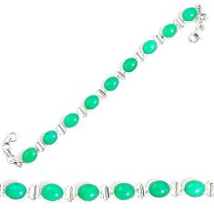 Natural green chrysoprase 925 sterling silver tennis bracelet jewelry m86182