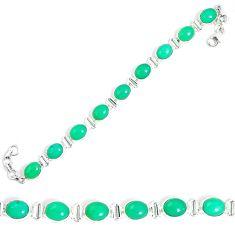 Natural green chrysoprase 925 sterling silver tennis bracelet jewelry m86183