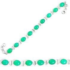 Natural green chrysoprase 925 sterling silver tennis bracelet jewelry m86188