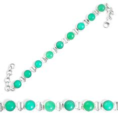 Natural green chrysoprase 925 sterling silver tennis bracelet jewelry m86189