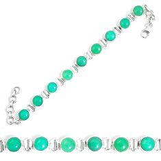 Natural green chrysoprase 925 sterling silver tennis bracelet jewelry m86194