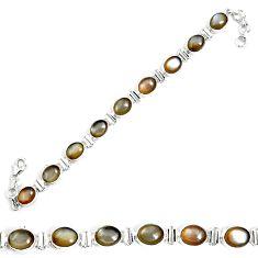 Natural grey moonstone 925 sterling silver tennis bracelet jewelry m86202