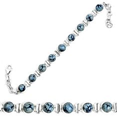 Natural black australian obsidian 925 sterling silver tennis bracelet m86227