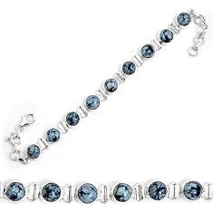 Natural black australian obsidian 925 sterling silver tennis bracelet m86233