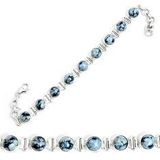 Natural black australian obsidian 925 sterling silver tennis bracelet m86235