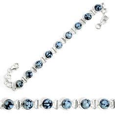 Natural black australian obsidian 925 sterling silver tennis bracelet m86236
