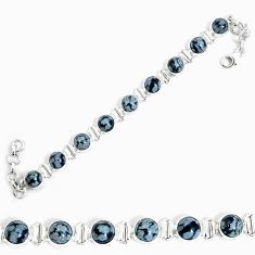 Natural black australian obsidian 925 sterling silver tennis bracelet m86239